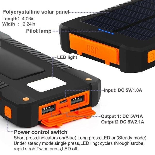 Hot Solar Power Bank Waterproof 30000mAh Solar Charger 2 USB Ports External Charger Powerbank for Xiaomi MI iPhone 8 Smartphone 3