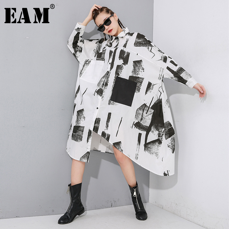 [EAM] Women Black Asymmetrical Big Size Long Blouse New Lapel Long Sleeve Loose Fit Shirt Fashion Tide Spring Autumn 2020 1N894