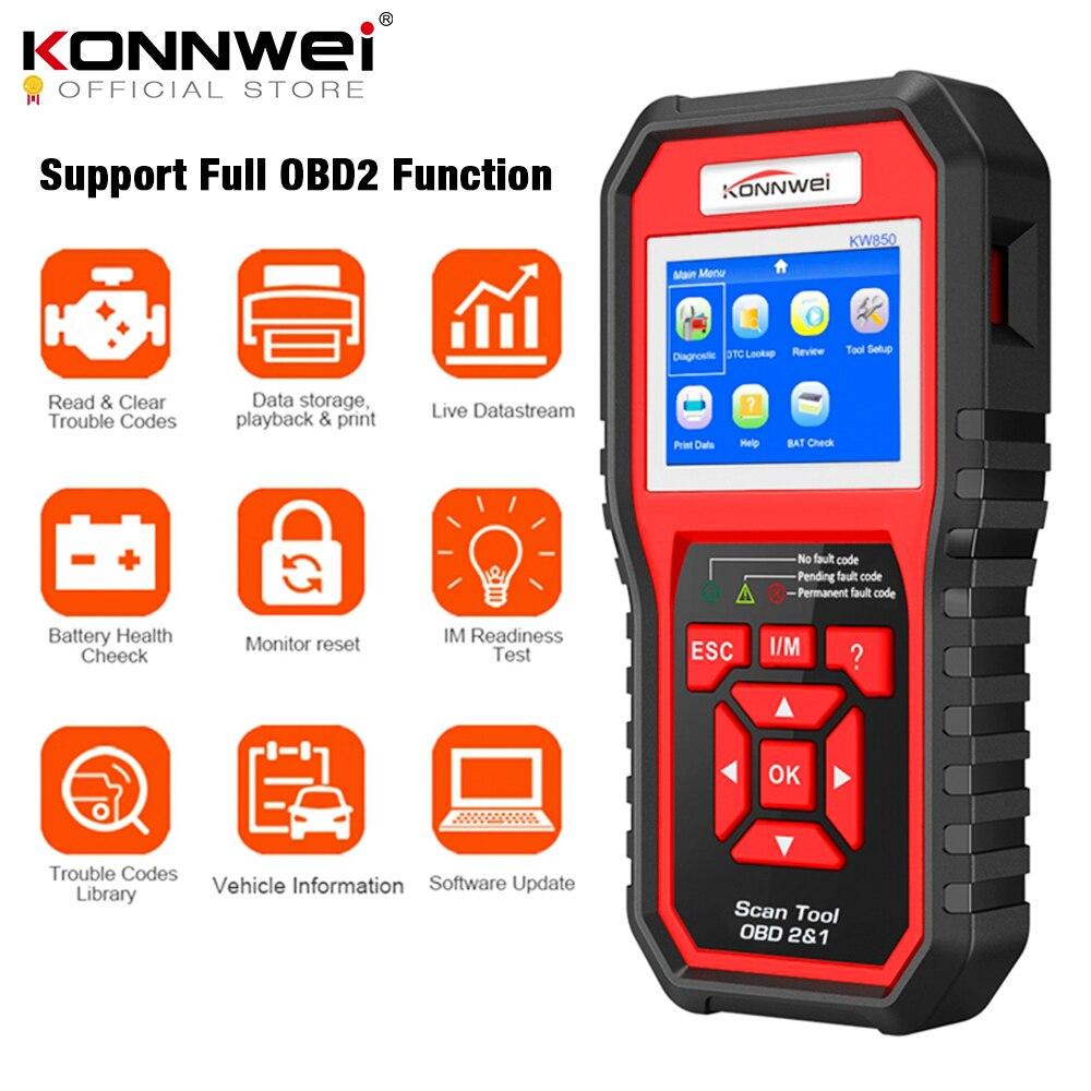 OBD2 ODB2 escáner de diagnóstico para automóvil KONNWEI KW850 escáner de diagnóstico de coche de función completa Universal OBD lector de código de motor