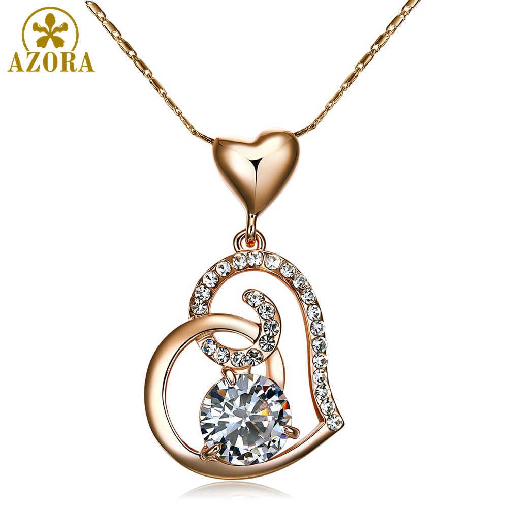 Azora rosa ouro cor clara stellux cristais austríacos duplo coração pingente colar para o dia dos namorados presente de amor tn0009