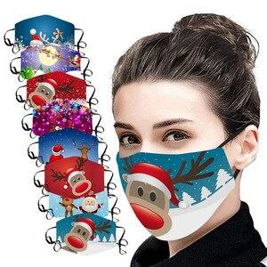 Унисекс Многоразовые маски для рождественской вечеринки 1 шт Снеговик 3d печатная забавная маска для лица с 2 шт Pm25 фильтры для женщин и мужчи...