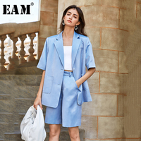 [EAM] Wide Leg Pants Thin Big Size Two Piece Suit New Lapel Half Sleeve Loose Fit Women Fashion Tide Spring Summer 2020 1U691
