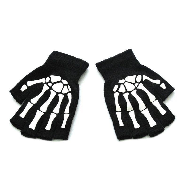 Для взрослых, унисекс, в виде череп скелета на Хэллоуин перчатки без пальцев светится в темноте с открытыми пальцами Стрейчевые вязаные зим...