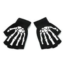 Унисекс взрослый череп скелета на Хэллоуин половина пальцев перчатки светится в темноте без пальцев растягивающиеся вязаные зимние варежк...