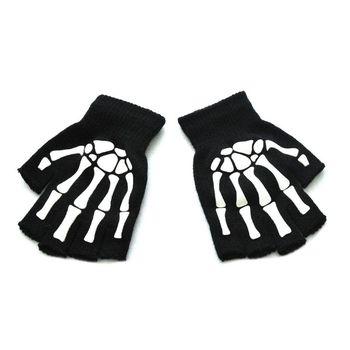Unisex dorosłych Halloween szkielet czaszka pół palca rękawiczki świecące w ciemności bez palców dzianinowe zimowe rękawiczki tanie i dobre opinie Dla dorosłych CN (pochodzenie) Akrylowe Drukuj Nadgarstek Moda 6EE201925 Black White men women Fashion