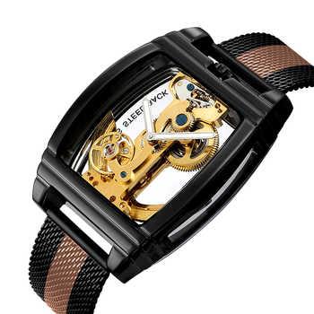 Montre mécanique automatique hommes mode montre transparente hommes bracelet en cuir haut marque Steampunk montre à remontage automatique montre homme