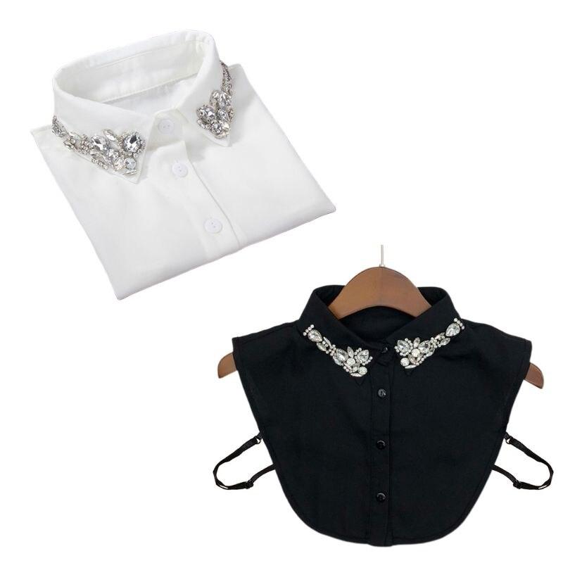 Ladies Women Water Drop Imitation Crystal Chiffon Fake Collars Jewelry Rhinestone Lapel Detachable Button Down Half-Shirt Blouse