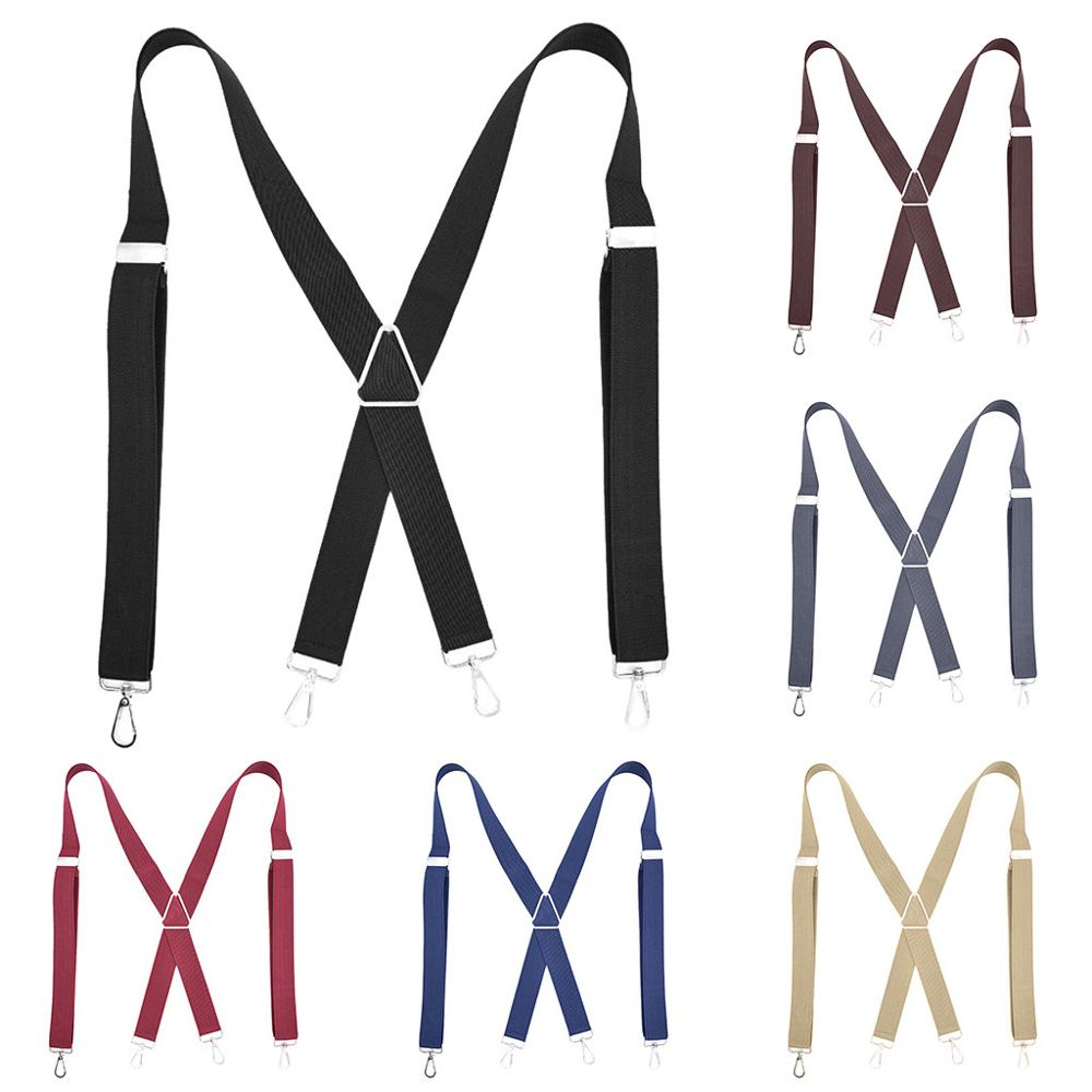 Mens Women Suspenders Braces Szelki X-Back 3.5cm Wide Adjustable Tirantes Solid Straight Clasps Jartiyer Para Suspensorio Bretel