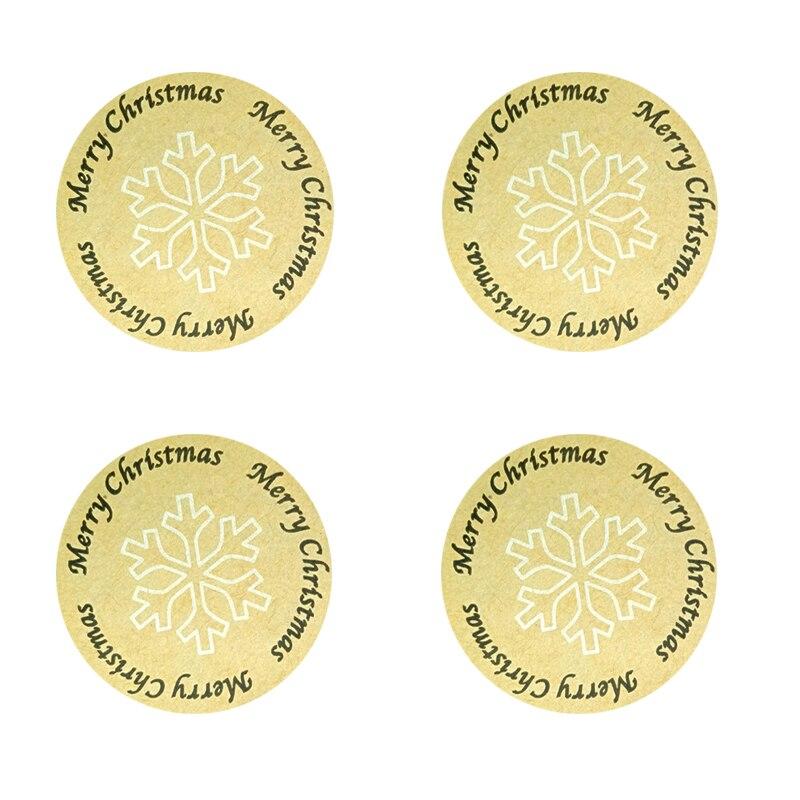 100Pcs/pack Christmas Merry For Gift Cake Baking Sealing Sticker Kraft Label Stickers