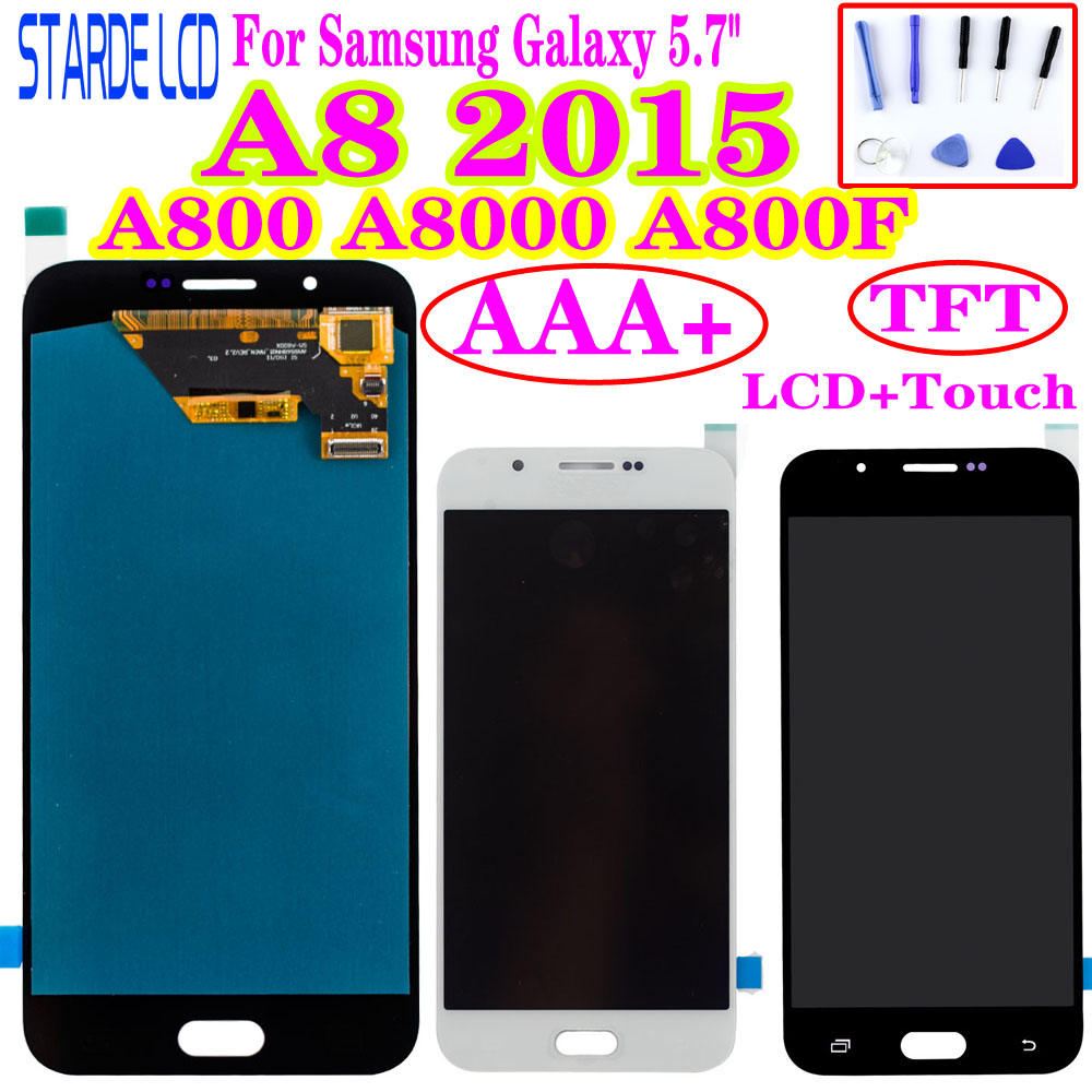 AAA+ Adjust Brightness LCD Display For Samsung Galaxy A8 2015 A800 A8000 A800F LCD Display Touch Screen Digitizer Assembly