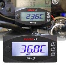 Mini 3 em 1 display led koso medidor (temperatura do ar + tempo + volt) medição de teste de temperatura da água voltímetro relógio ferramentas da motocicleta