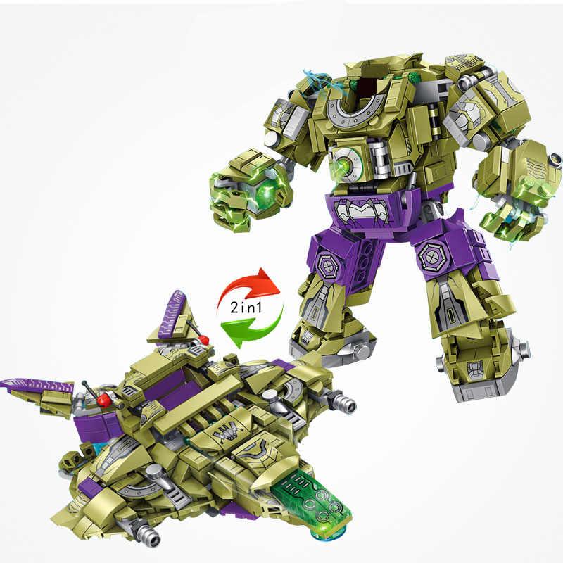 Para legoing avengers endgame 4 thanos hulkbuster vs hulk armadura 2in1 modelo conjunto homem de ferro legoing marvel super heróis blocos de filme