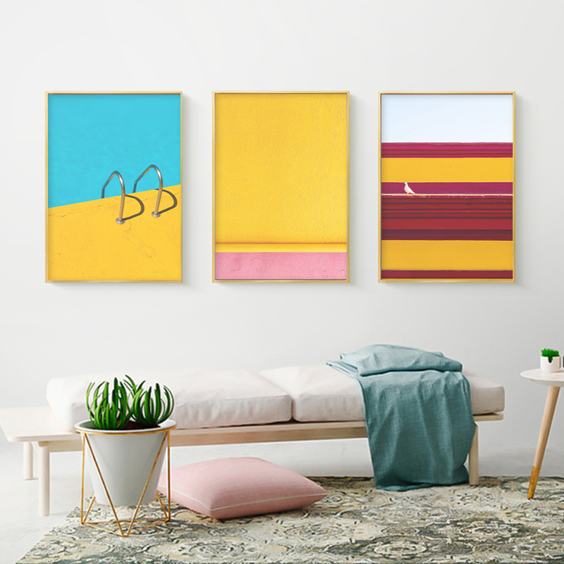 Modern Colorful Red Blue Yellow Abstract Line Geometric Canvas Painting Wall Art Picture Poster Print for Living Room Home Decor