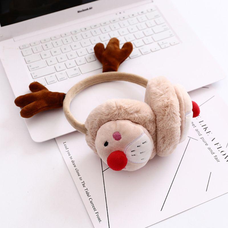 Womena Winter Christmas Plush Earmuffs Cartoon Reindeer Antler Party Ear Warmer C90E