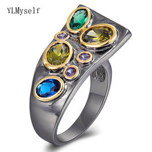 Irregular Long design Ring Jewelry Women's Punk Accessories Great Gun Black Multi stones Jewellery Finger Rings(China)