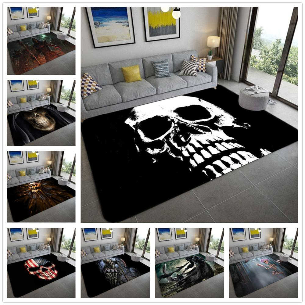 Halloween Party Area Rugs 3D Creative Skull Printing Carpets For Living Room Bedroom Decor Carpet Soft Flannel Home Floor Rug