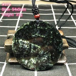 Image 5 - למעלה טבעי ירוק Seraphinite תליון שרשרת לאישה ליידי גברים מזל קריסטל עגול חרוזים אבן מתכוונן חבל תכשיטי AAAAA