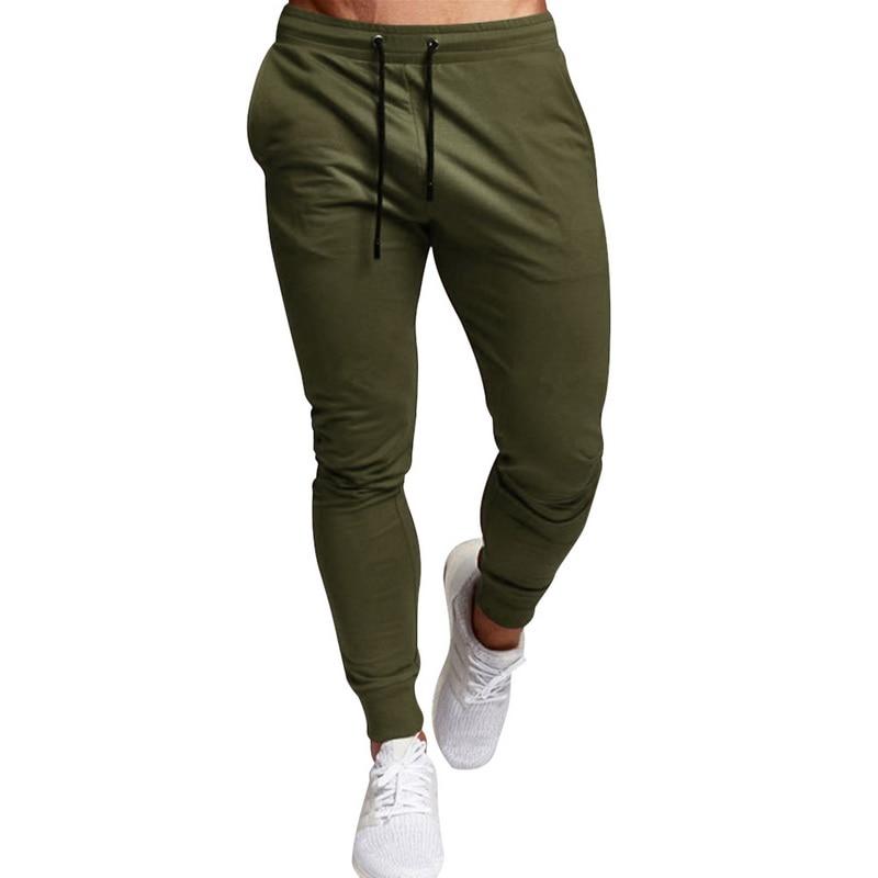 CYSINCOS Men Sport Leisure Trousers Solid Color Versatile Running Training Fitness Pants Lace Up Solid Versatile Fitness Pants