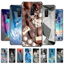 Luxury Texture Case For Samsung A6 Plus Cases Painted Tempered Glass Capinha For Samsung Galaxy A6+ A 6 Plus 2018 6.0 inch