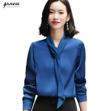 Blue Shirt Women Design Temperament Fashion New Long Sleeve V Neck Streamer Satin Chiffon Blouses Office Ladies Casual Work Tops