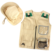 Adventure Kit For Kids Cargo Vest Hat Set Explorer Costume Outdoor Explorer Kit Realize Children Career Dream Cosplay Gifts