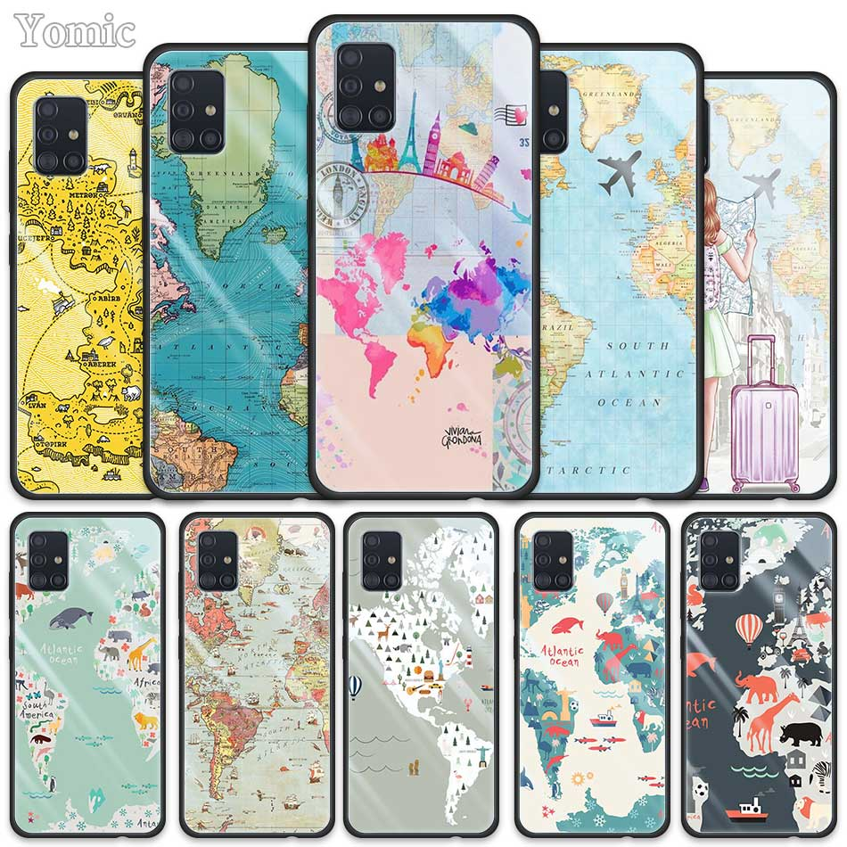 <font><b>Glass</b></font> <font><b>Case</b></font> for <font><b>Samsung</b></font> Galaxy <font><b>A50</b></font> A51 A70 A71 A01 A10 A11 A20 A21 A30 A31 A40 A41 A81 M21 M31 Phone Cover World Map Travel Plans image