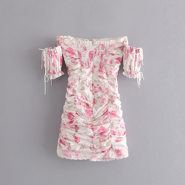 ruffled minidress with off shoulder sleeves 2