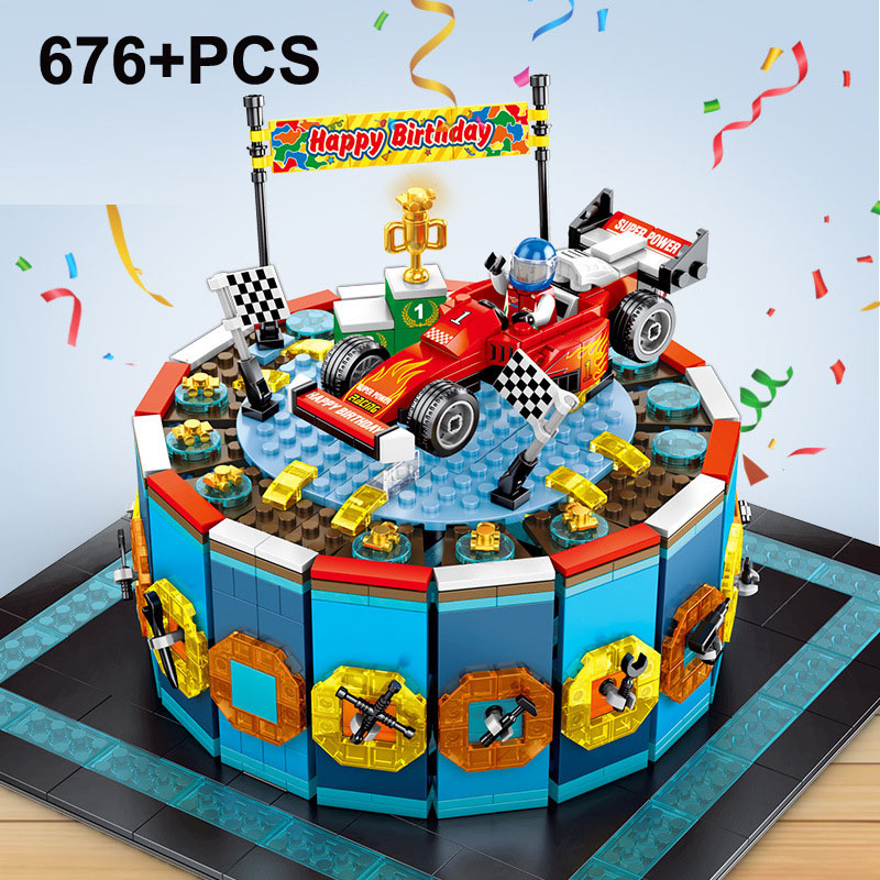 Assemble Building Block 676PCS Racing Car Birthday Cake Model Splicing Block Bricks Boy Gift Toys Age 3 4 5 6 7 8 9 10 11 12 13