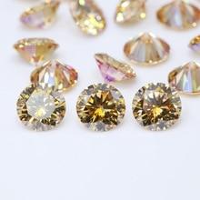 1 carat (6.5mm) Gold Color Round Moissanite Loose Gemstones Bead Diamond Jewelry DIY Material