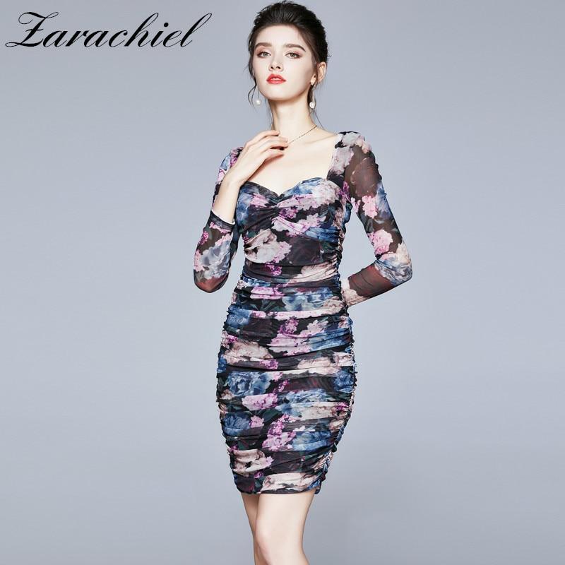 Women 2021 Chic Fashion Purple Floral Print Draped Mesh Dress Sexy Club Square Collar Long Sleeve Stretch Bodycon Mini Dresses 7