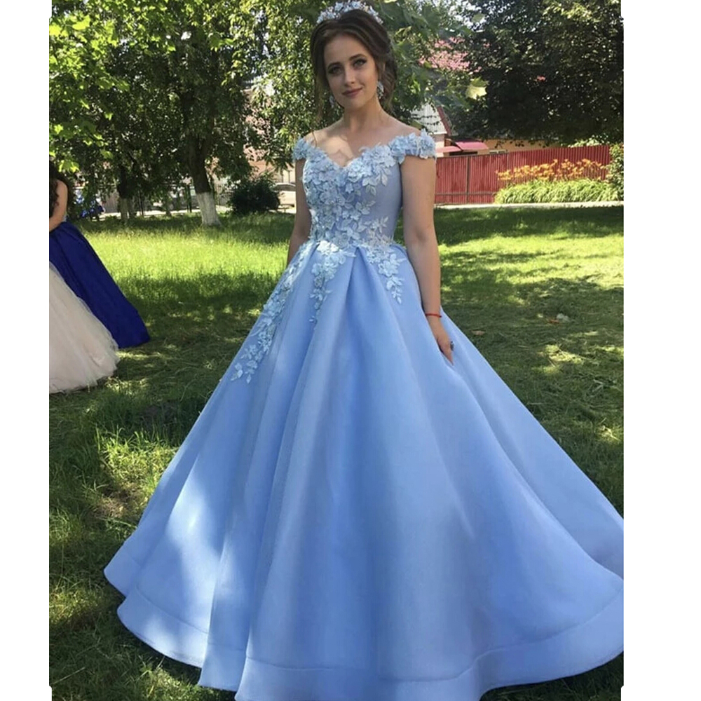 Vestidos De Gala Evening Dresses 2019 A-Line Off The Shoulder Flowers Appliques Dubai Saudi Arabic Long Evening Gown Prom Dress