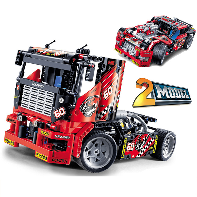608pcs Compatible With Legoinglys Technic Race Truck Car 2In1 Transformable Model Building Blocks Toy Kit DIY Educational Gifts