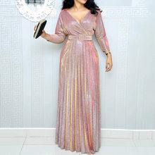 2019 Reflective Long Dress Women Pleated Sexy Deep V Neck Elegant Autumn High Waist Belt Glitter Evening Party Pink Maxi Dresses(China)