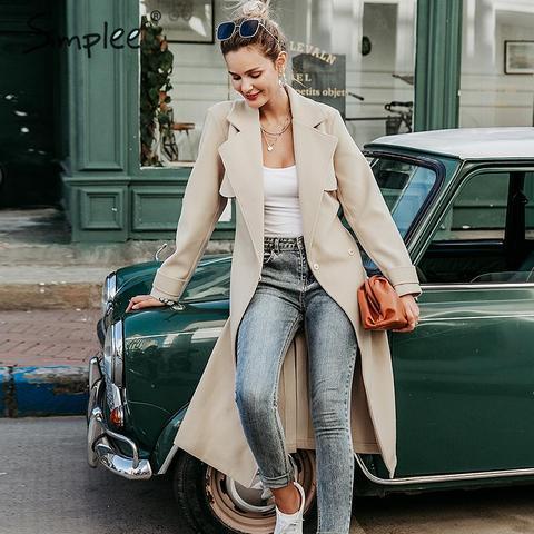 Simplee Wool blend winter tweed coat women Long sleeve elegant sash belt female outwear coat Autumn winter streetwear coat Pakistan