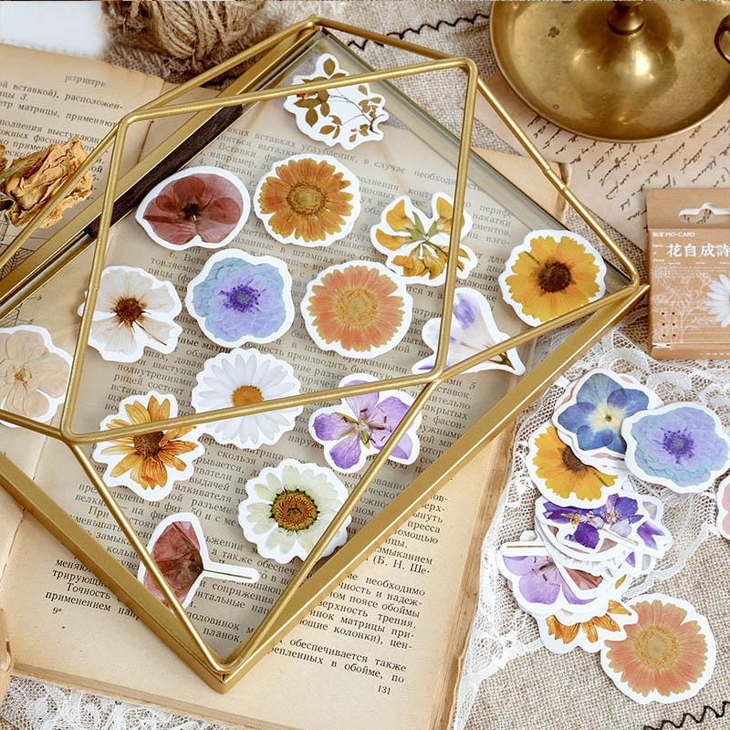 46Pcs Kawaii Daisy Stationery Stickers Cute Flower Stickers Cartoon Sticker For Kid DIY Decor Scrapbooking Diary Albums Supplies