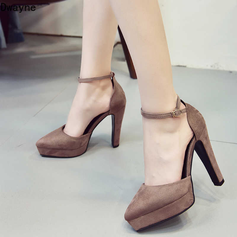 2019 Autumn New Small Fresh Waterproof Platform High Heels Wild Fashion Pointed Thick With Single Shoe Sexy Elegant Womens Shoes