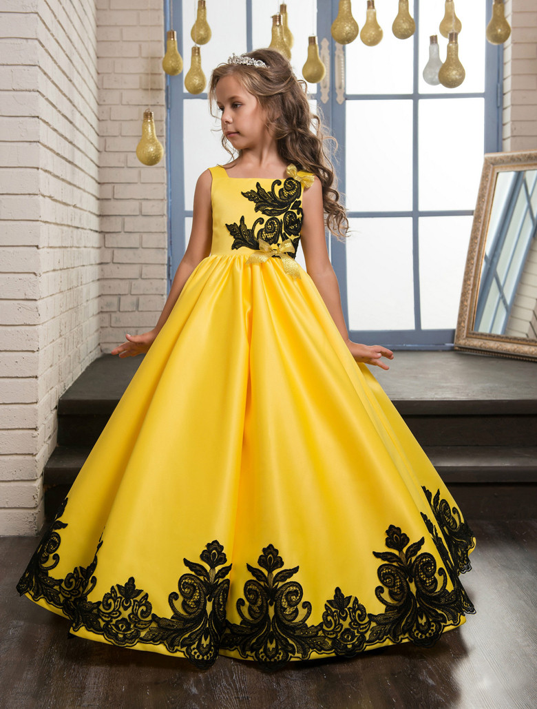 Yellow 2019   Flower     Girl     Dresses   For Weddings Ball Gown Appliques Lace Bow Long First Communion   Dresses   Little   Girl