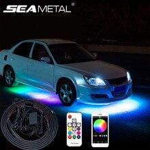 Araba Underglow Neon Accent şerit aydınlatma kiti renkli araba gövde altı dekorasyon esnek işıklar APP/uzaktan kumanda atmosfer lambası