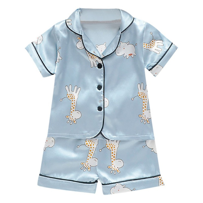 Short Sleeve Child Blouse Tops+Shorts Sleepwear   Pajamas   Kids Clothes Baby   Pajama     Sets   Boys Girls Cartoon Deer Print Outfits   Set