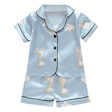 Short Sleeve Child Blouse Tops+Shorts Sleepwear Pajamas Kids Clothes Baby