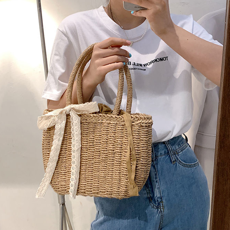 Cute Korean-Style Straw Hand Bags for Women 2021