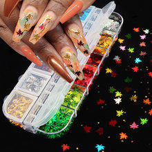 Голографический кленовый лист блестки для ногтей красочные бабочки