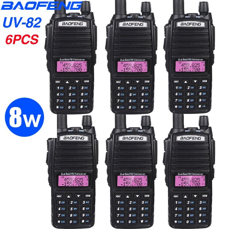 6PCS High Dual Band 8W Walkie Talkie Baofeng UV-82 Intercom 128CH Portable Ham Radio FM Transceiver VHF/UHF Two-way Radio UV82