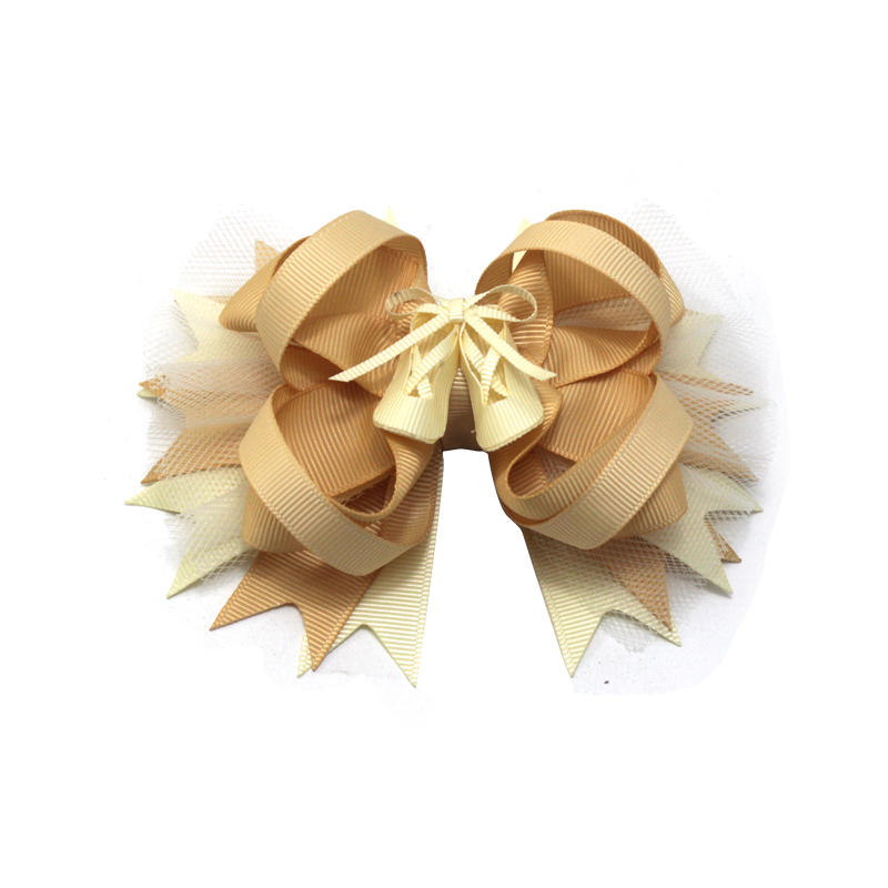 Princess Hair Grid Decoration Girls Solid Color Hair Accessories Bow Hair Clip Polyester Bow Hair Clip Children Hair Accessories