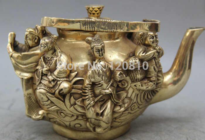 "8 ""Ditandai China Qian Panjang Dinasti Kuningan Delapan Abadi Allah Anggur Teh Pot Dibagikannya Patung"