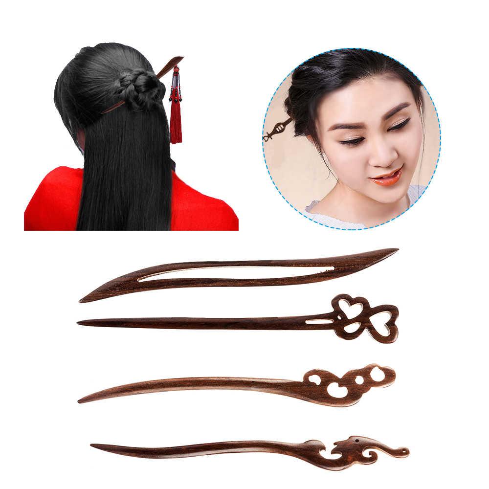 1PC Retro Retro ไม้จันทน์สีดำมือไม้แกะสลักผมเรียว Stick ตะเกียบ Hairpin ผู้หญิงจัดแต่งทรงผมอุปกรณ์เสริมผมเครื่องมือ