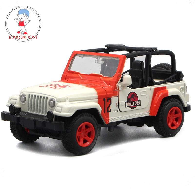 1/32 Scale Alloy Metal Car Toys Jeep Wrangler Jurassic Park SUV Auto Car Model Pull Back Cars For Children Kids Gifts Collection