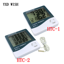 LCD Digital Thermometer Hygrometer Weather Station HTC-1 HTC-2 Temperature Humidity Tester Clock Alarm Wall Sensor Probe LCD