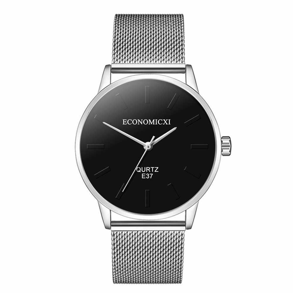Reloj mujer saatler erkekler erkek moda iş izle basit paslanmaz çelik tel örgü kemer vahşi erkek kuvars relojes hombre 2019
