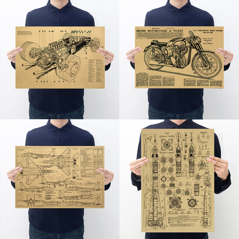 Nautical Engine Airplane Motorcycle Rocket Racing Design Retro Kraft Paper Poster  Sketch Home Vintage Decor Painting Wall Stick